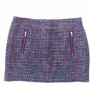 J Crew Tweed Mini Skirt Gold Zip